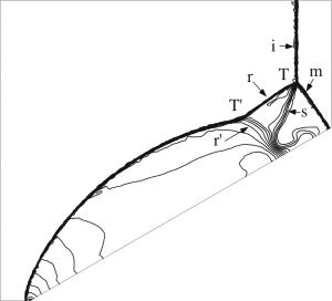 解適合格子法による計算結果例(等密度線図)
