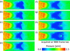 感圧塗料を用いて計測した超音速ノズル内部の圧力分布の時間変化